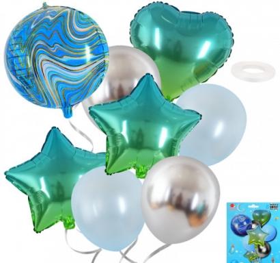 Комплект 8 бр. балони - фолиеви сърце, звезда и сфера мрамор /marble/, 4бр латекс