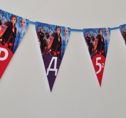 Персонализиран банер Честит Рожден Ден Замръзналото Кралство 2 Елза и Ана