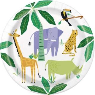 Хартиена парти чинийка Животни Джунгла Сафари 23 см / Animal Jungle, 8 бр. в опаковка