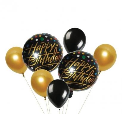 Комплект 7 бр. балони златно и черно металик - 2бр фолио, 5бр латекс
