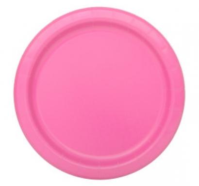 Хартиена парти чинийка розова, 23 см