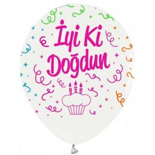 Балон с цветен неонов печат BALON BASKILI ÇEPEÇEVRE FLORESAN BEYAZ İYİKİ DOĞDUN , 30 см, бял 6 бр. пакет
