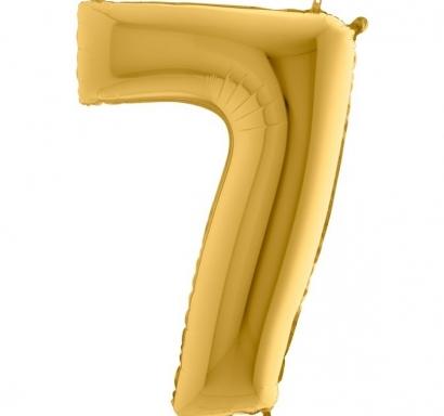 Фолиен балон цифра 7 цвят злато - 102 см височина /40