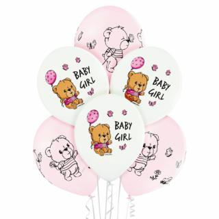 Комплект 6 бр. премиум балони с печат Мече Бебе Момиче / Baby Girl, микс пастелни цветове Belbal /Gd/