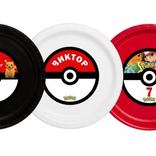 Персонализирана хартиена парти чинийка Покемон, 5бр. пакет