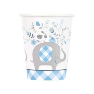 Хартиена парти чашка 250 мл Бебе, момче, слонче с флорални елементи /  Blue Floral Elephant, 8 бр. в опаковка
