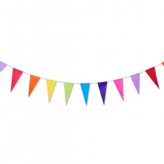 Банер гирлянд за декорация,  10,0 м. дължина 45 шарени триъгълни флагчета