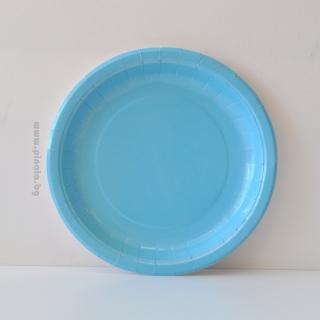 Хартиена парти чинийка, 23 см диаметър светло синя