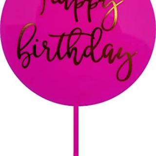 Декорация за торта с текст Happy Birthday в циклама и златно,16.5см
