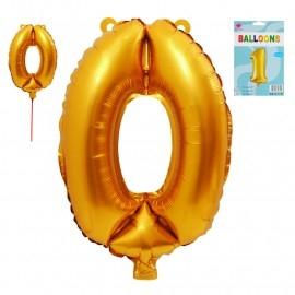 Фолиев балон цифра  0-9 цвят злато - 36 см височина