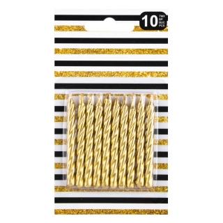 Свещички спирали, златни металик,  10 бр в опаковка