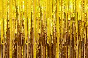 Ресни за декорация  /ПВЦ/ лъскави, цвят злато, 100х200см