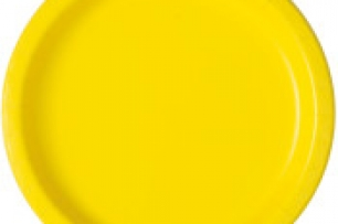 Хартиена парти чинийка жълта неон, 18 см