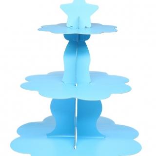 Стойка за мъфини светло синя, три нива