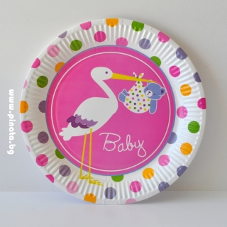 Хартиена парти чинийка  Честито Бебе момиче /Добре дошла/