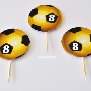 Тематичен  топер за мъфини Футбол златна топка, 5 бр. в опаковка