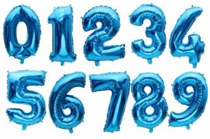 Фолиев балон цифра 0-9, цвят синьо 54х76см