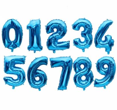 Фолиев балон цифра, цвят синьо 54х76см
