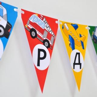 Персонализиран банер Честит Рожден Ден Транспортни средства
