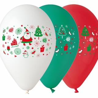 Комплект 5 бр. премиум балони Коледа, Нова година / Christmas , микс цветовe  /Gd/