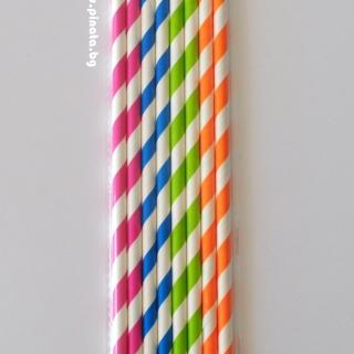 Картонени сламки различни цветове 8 бр опаковка