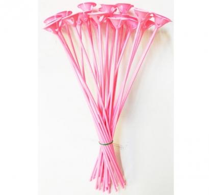 Пръчки с чашки /държачи/ за латексови балони - комплект 12 бр, розови