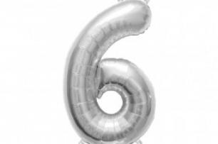 Фолиен балон цифра  0-9 цвят сребро - 81 см височина