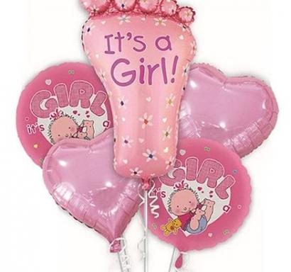 Комплект 5 бр. фолиеви балони Бебе Момиче / It's a Girl