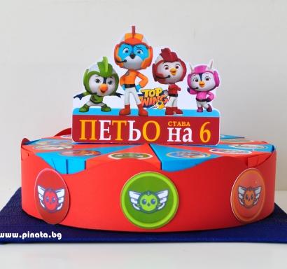 Хартиена торта с тематична декорация и персонализация Топ Кадети