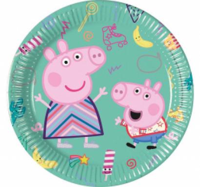 Хартиена парти чинийка Пепа Пиг / Peppa Pig 20 см. диаметър, 8 бр. в опаковка /Gd/