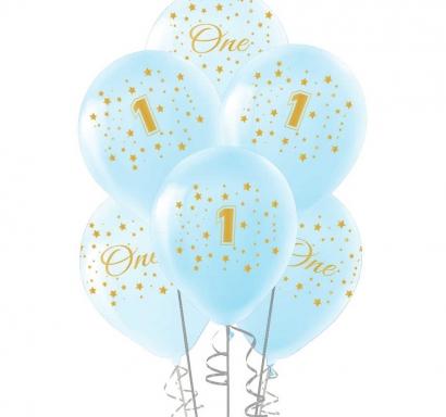 Комплект 10 бр. сини балони с печат цифра 1 и звезди / Първи рожден ден момче