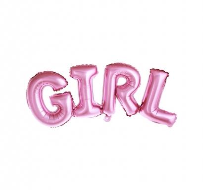 Фолиев балон букви Бебе момиче / Girl, 109х40см, цвят розов