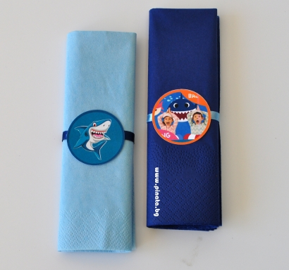 Парти салфетки Риби акули Бейби шарк 33х33 см, 5 бр. пакет