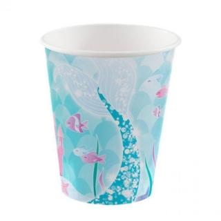 Хартиена парти чашка Русалка 270 мл. / Mermaid, 8 бр. в опаковка