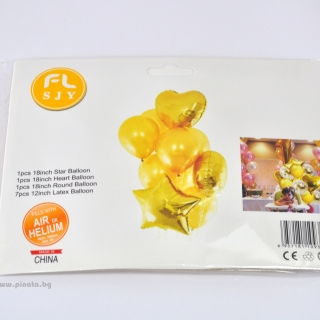 Комплект 10 бр. златни балони  - 3бр фолио, 7бр пастел
