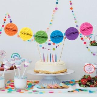 Висяща декорация - гирлянд от топки различни цветове /тип пчелна пита/, 4 м. дължина