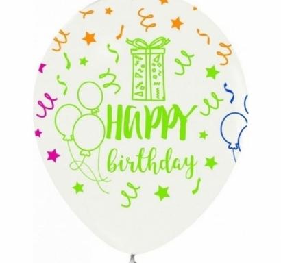 Балон с цветен неонов печат Честит Рожден Ден, 30 см, бял, 6бр. пакет