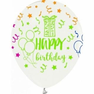 Балон с цветен неонов печат Честит Рожден Ден, 30 см, бял
