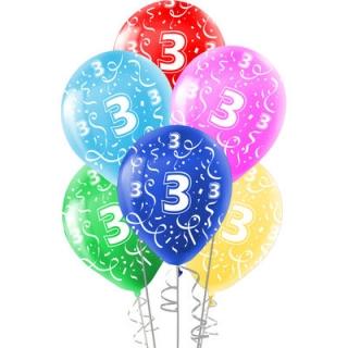 Комплект 10 бр. латексови балони с печат цифра 3, микс цветове