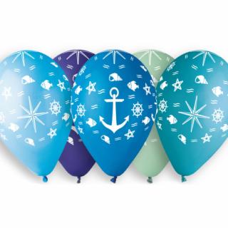 Комплект премиум балони Морско дъно, котва, риби,  33 см диаметър, 5 бр. в опаковка, микс цветове  /Gd/