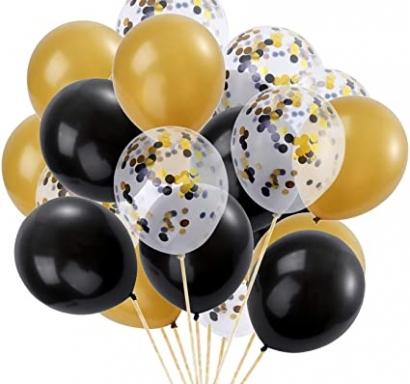 Комплект 16 бр. балони, прозрачни със златни конфети, черни и златни металик, диаметър 30 см.