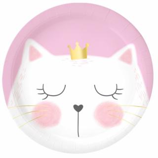 Хартиена парти чинийка Коте / Cat, 23 см. диаметър, 6 бр. в опаковка /Gd/