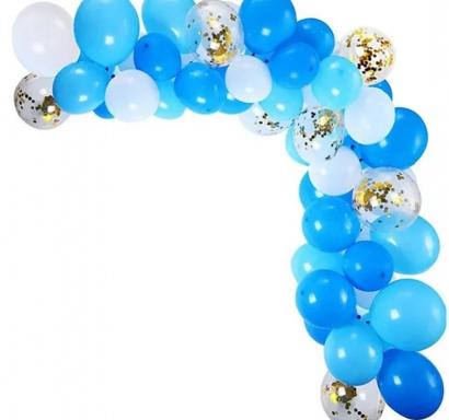 Комплект за украса с балони тип арка, 65 бр. балони в бяло, светло и тъмно синьо и прозрачни със златни конфети