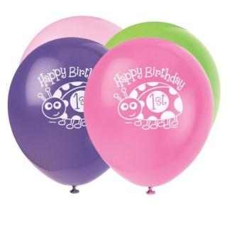 Балон с печат калинка първи рожден ден 30 см диаметър, микс цветове 8 бр. в пакет