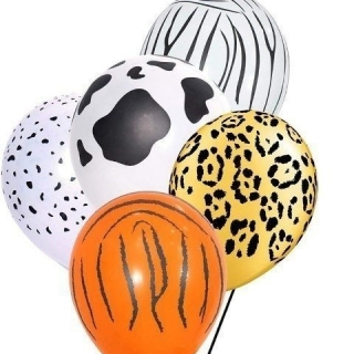 Балон с печат различни Животни, Сафари, Джунгла, диаметър 30 см, 5 бр. в пакет микс