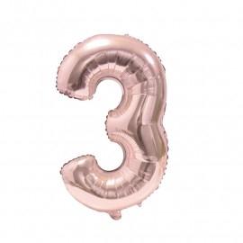 Фолиен балон цифра  0-9 цвят розово злато - 100 см височина