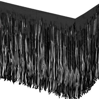 Ресни, завеса за декорация на маса /ПВЦ/ лъскави, цвят черно 70х300см