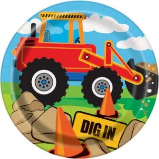 Хартиена парти чинийка Строителни машини Багер 18 см , Construction Party, 8 бр. в опаковка