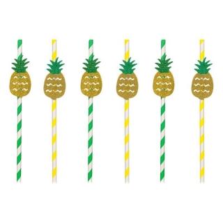 Картонени сламки ананас 6 бр опаковка
