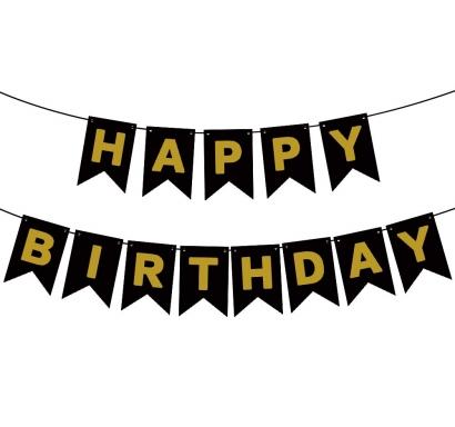 Банер комплект Happy Birthday / Честит Рожден Ден, черен със златни букви